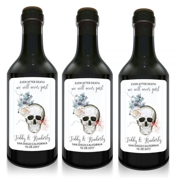 Even After Death We Will Never Part Mini Wine Bottle Labels For