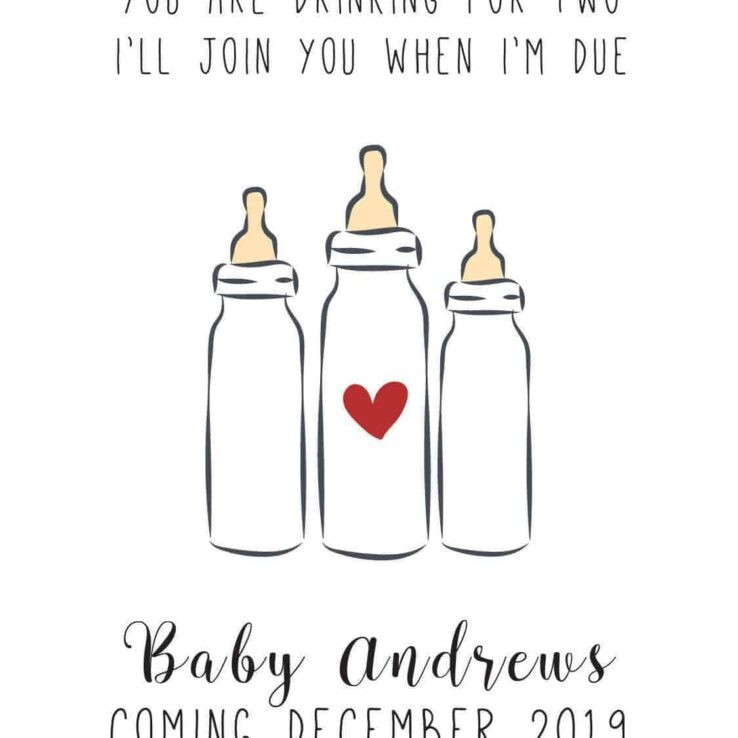 """Join you when I'm Due"" Wine Bottle Label Stickers"