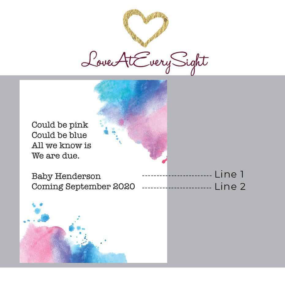 "Pregnancy Baby Announcement Wine Labels ""Watercolor mist"", Upcomming motherhood, Customizable Label Stickers bwinelabel90"