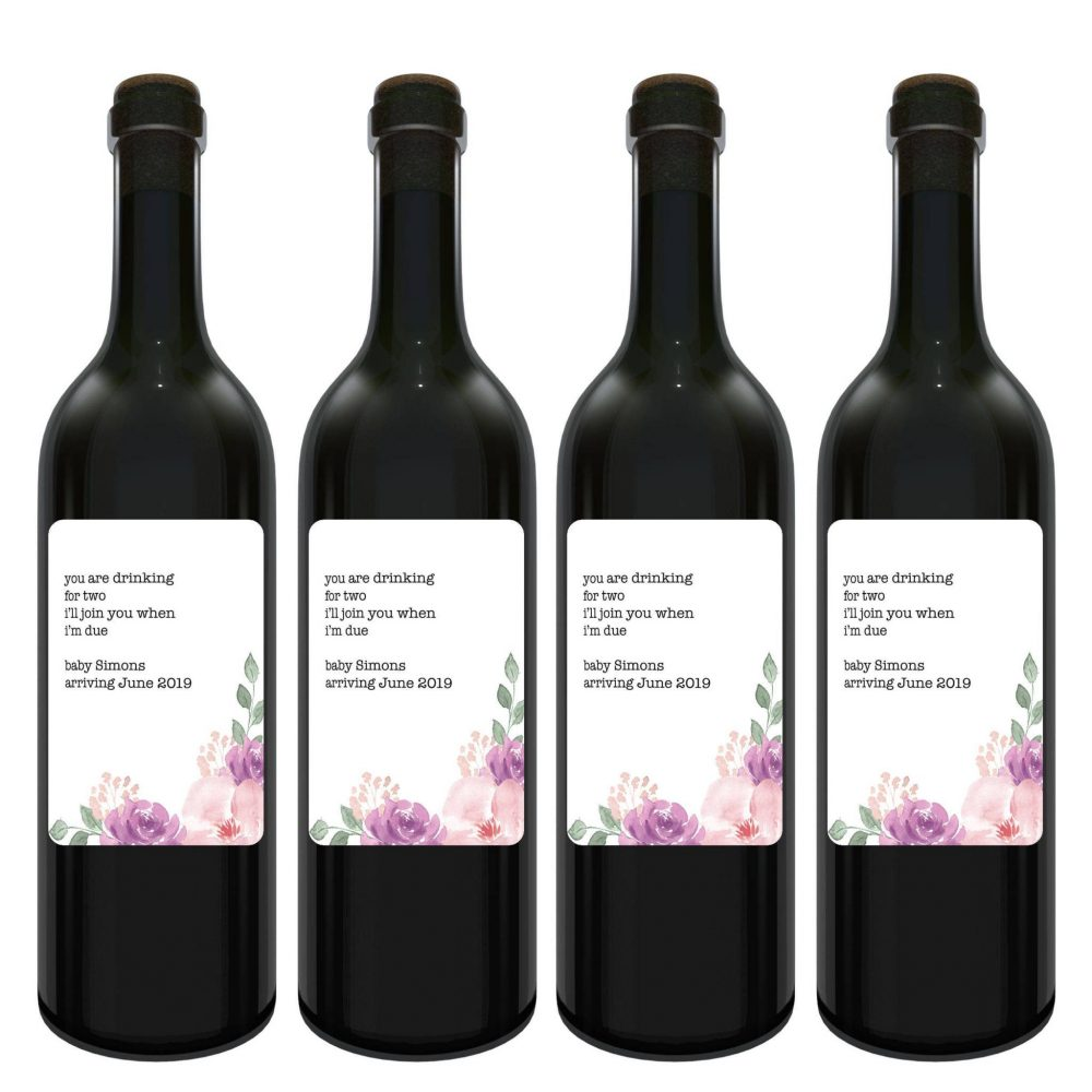 """Baby Announcement Wine Label Bottle Stickers """"Drinking for Two"""" Customizable Pregnancy Label Stickers bwinelabel93"""