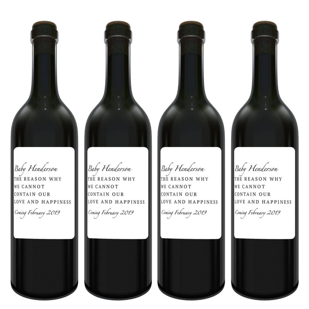 """Baby Announcement Wine Label Bottle Stickers, """"... cannot contain our Love and Happiness"""", Customizable Label Stickers bwinelabel115"""