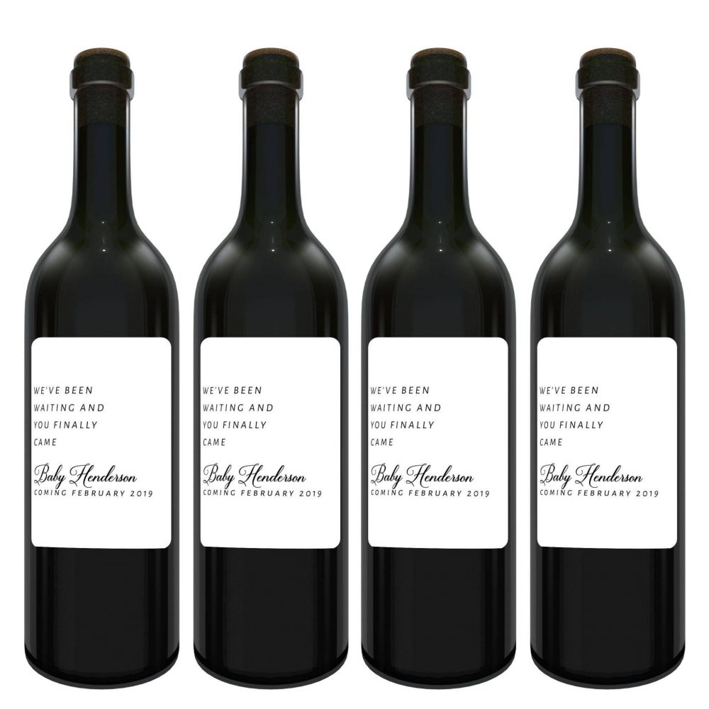 """""""We've been waiting"""", Baby Announcement Wine Label Bottle Stickers, Baby on Board- Customizable Label Stickers bwinelabel118"""