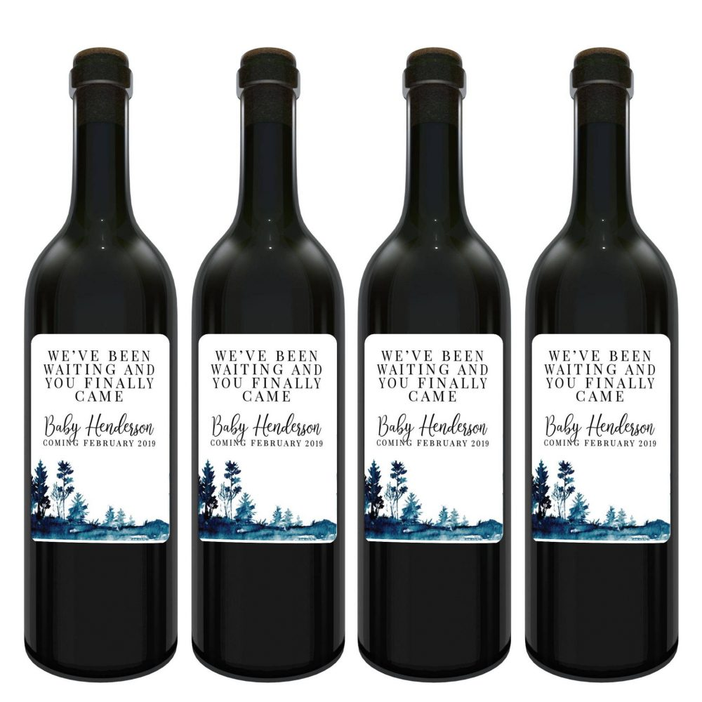 We've been waiting and you Finally Came Baby on Board Announcement, Wine Label Bottle Stickers, Customizable Label Stickers 121