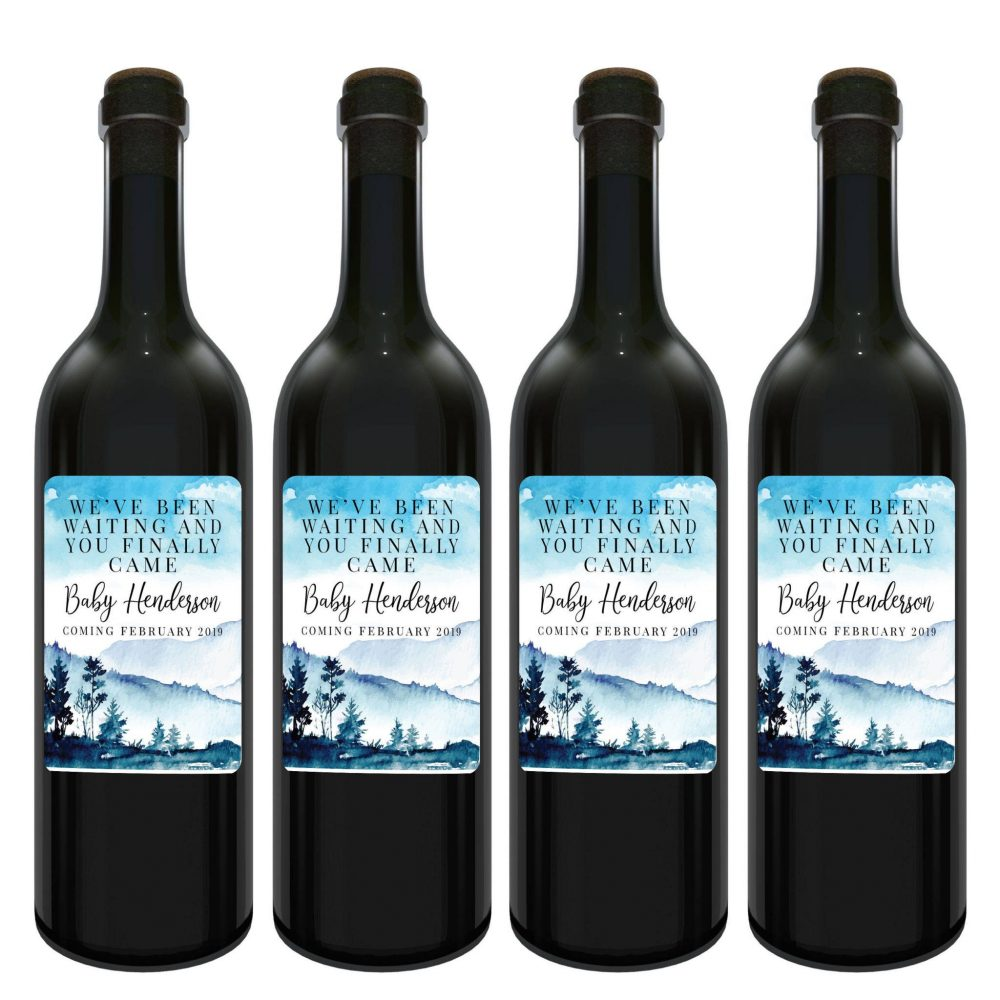 """Baby on Board Announcement, """"We've been waiting and you Finally Came"""" Wine Label Bottle Stickers - Customizable Label Stickers bwinelabel120"""