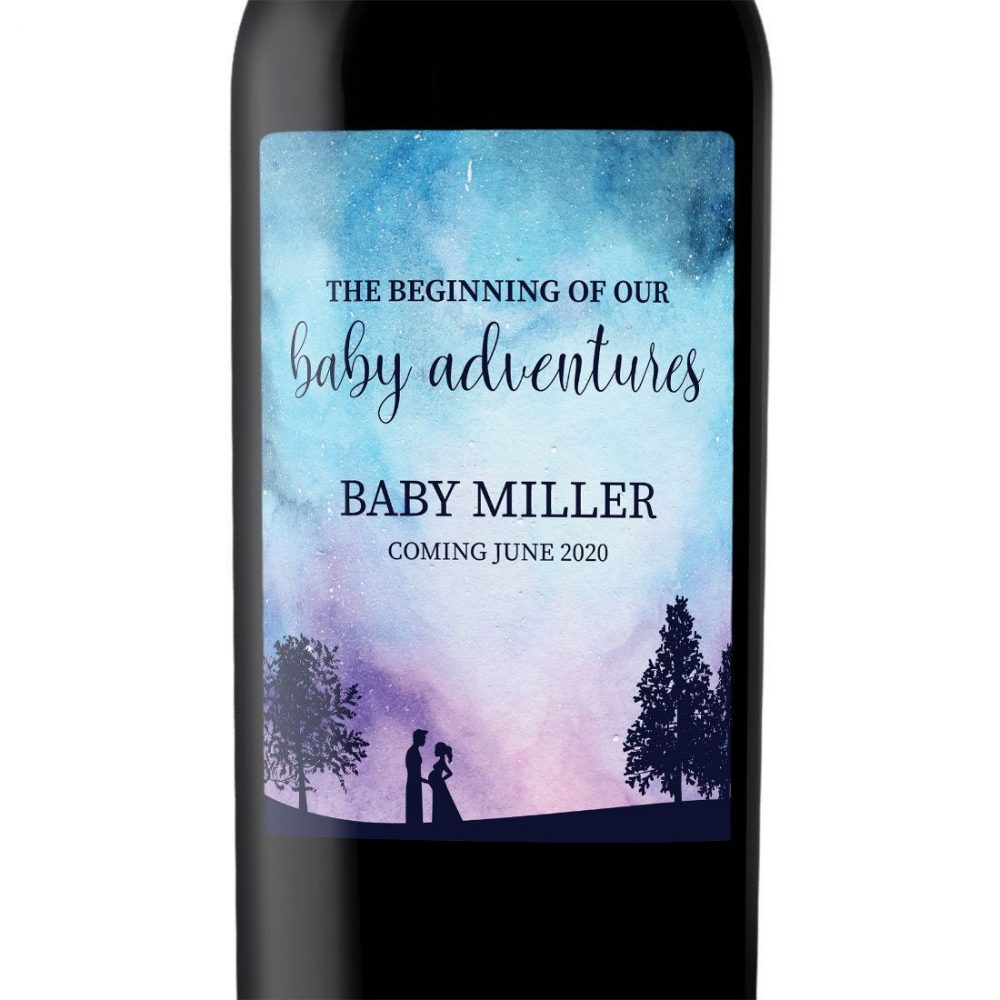 """Baby Announcement Wine Label Stickers """"The Beginning of our Baby Adventures"""", Baby Celebration Custom Bottle Label, Twilight Theme bwinelabel133"""