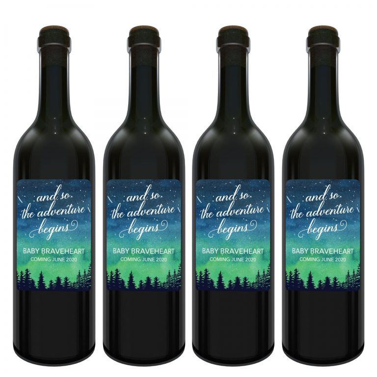 "Baby Announcement Wine Label Stickers, ""and so the adventure begins"", Baby Celebration Custom Bottle Label, Exclusive Nebula Design bwinelabel134"