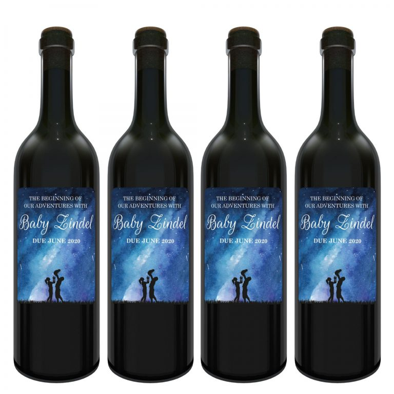"Baby Announcement Wine Label Stickers, ""The beginning of our Adventures"", Baby Celebration Custom Bottle Label, Dazzling Cosmos bwinelabel136"