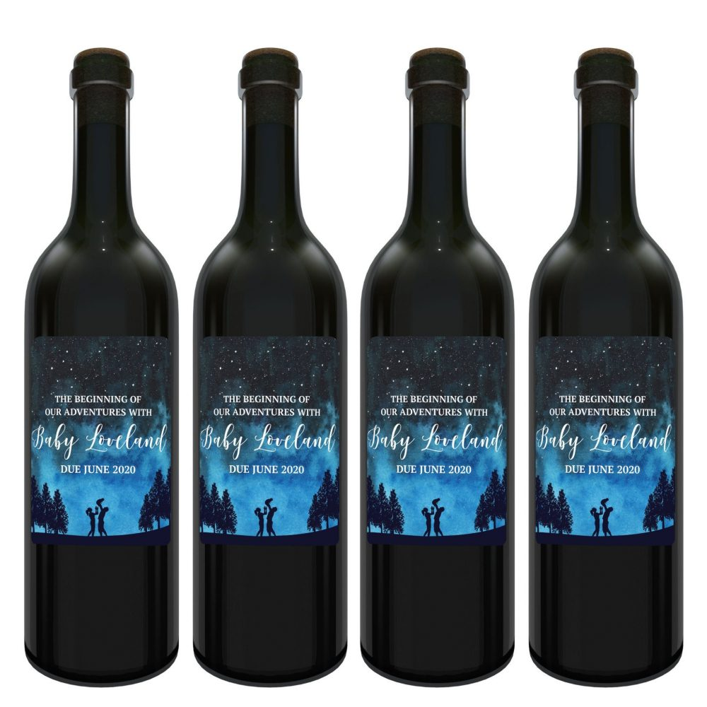 """Baby Announcement Wine Label Stickers, """"The Beginning of Our Adventures"""", Baby Celebration Custom Bottle Label, Night Fantasy Sky bwinelabel138"""