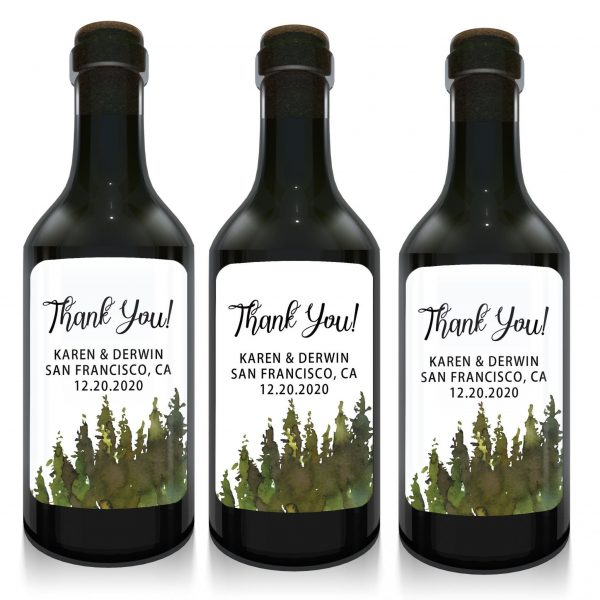 Wedding Mini Wine Bottle Labels, Thank you!, Custom Personalized Mini Wine  Bottle Label Stickers- Green Watercolor Design