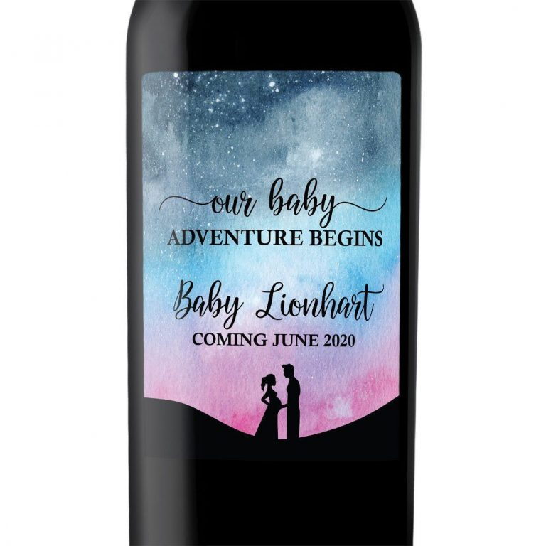 "Baby Announcement Wine Label Stickers ""Our Baby Adventure Begins"", Baby Celebration Custom Bottle Label - Galaxy Theme bwinelabel128"