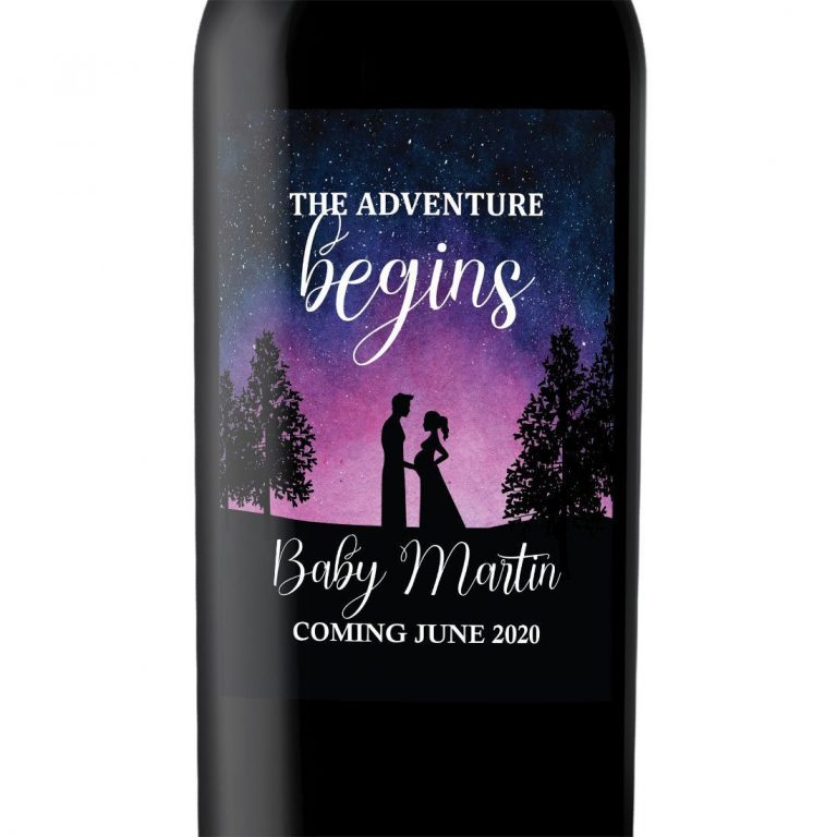 "Baby Announcement Wine Label Stickers, ""The Adventure Begins"", Baby Celebration Custom Bottle Label, Unique Night Sky Theme bwinelabel130"