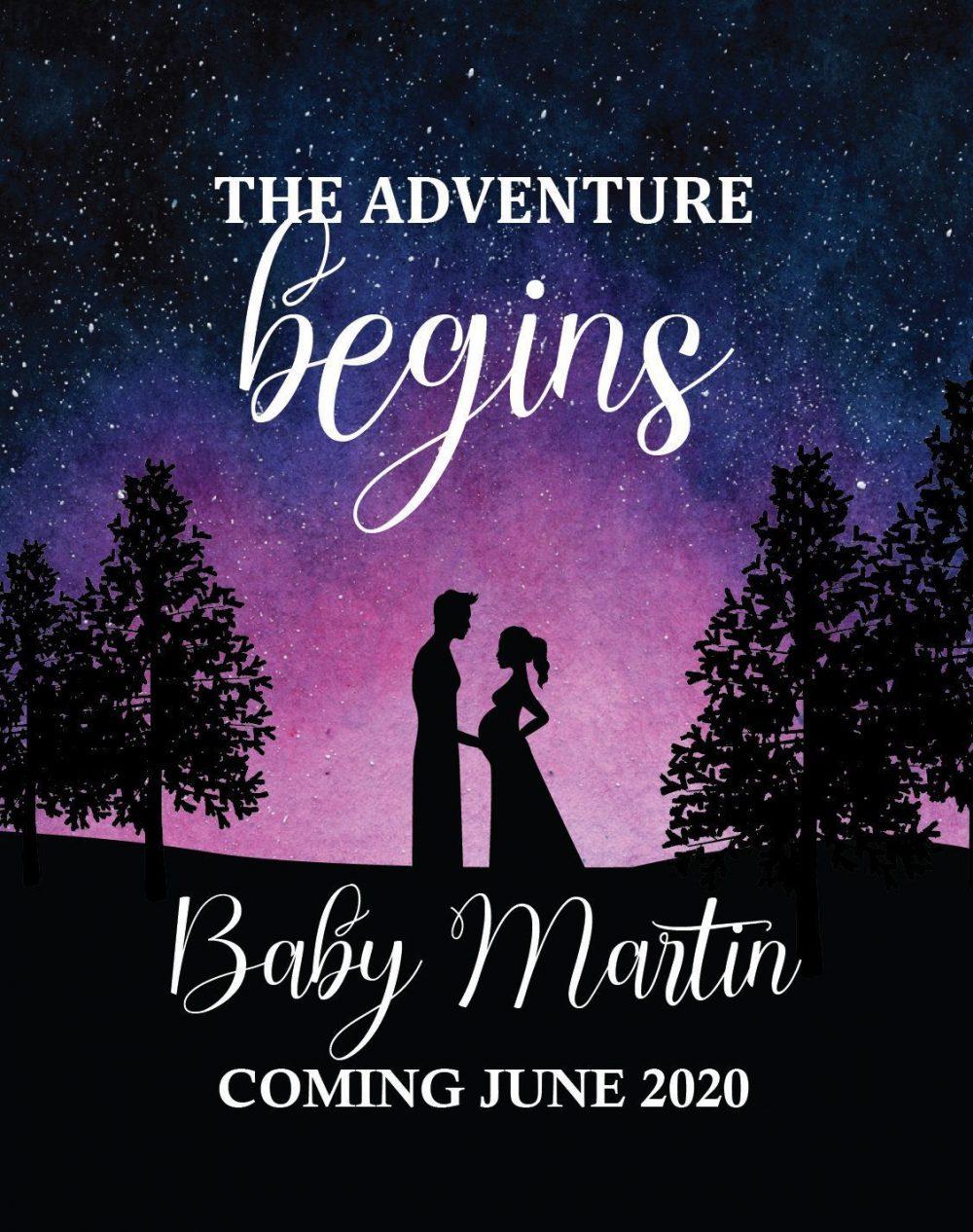"Baby Announcement Wine Label Stickers, ""The Adventure Begins"", Baby Celebration Custom Bottle Label, Unique Night Sky Theme bwinelabel130"