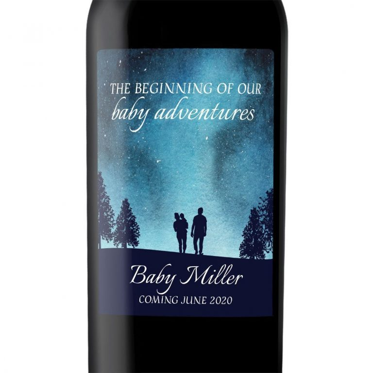 "Baby Announcement Wine Label Stickers, ""The Adventure Begins"", Baby Celebration Custom Bottle Label, Superb Fantasy Sky Theme bwinelabel131"