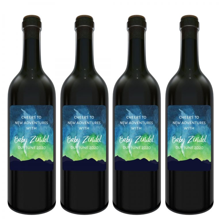 "Baby Announcement Wine Label Stickers, ""and so the adventure begins"", Baby Celebration Custom Bottle Label, Milky Way Theme bwinelabel135"