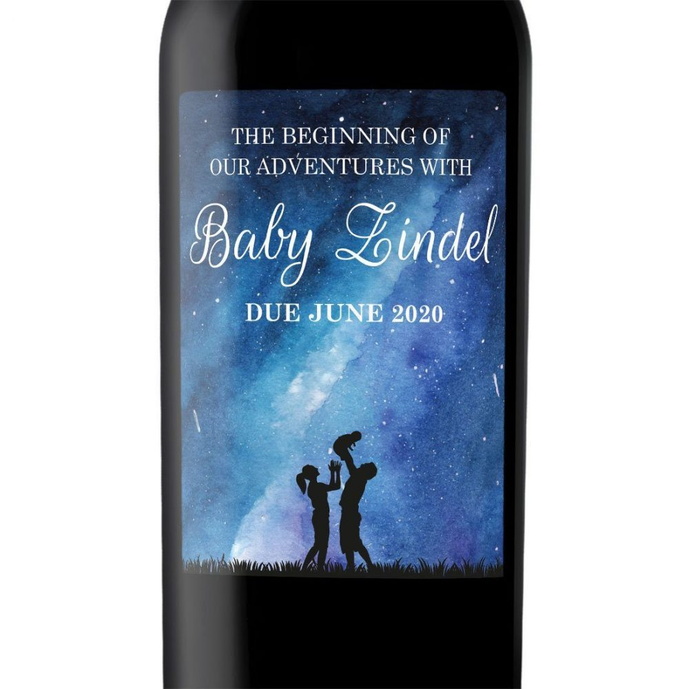 """Baby Announcement Wine Label Stickers, """"The beginning of our Adventures"""", Baby Celebration Custom Bottle Label, Dazzling Cosmos bwinelabel136"""