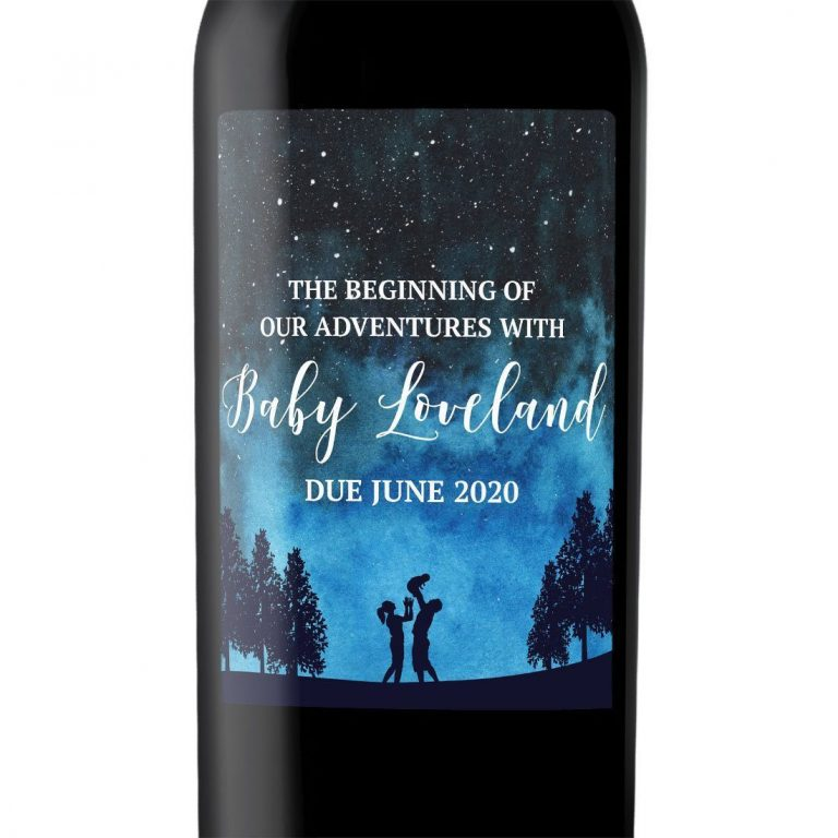 "Baby Announcement Wine Label Stickers, ""The Beginning of Our Adventures"", Baby Celebration Custom Bottle Label, Night Fantasy Sky bwinelabel138"