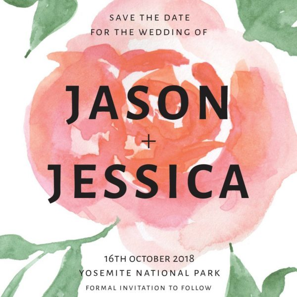 Simple Rose Save the Date Cards, Wedding Save the Date Card