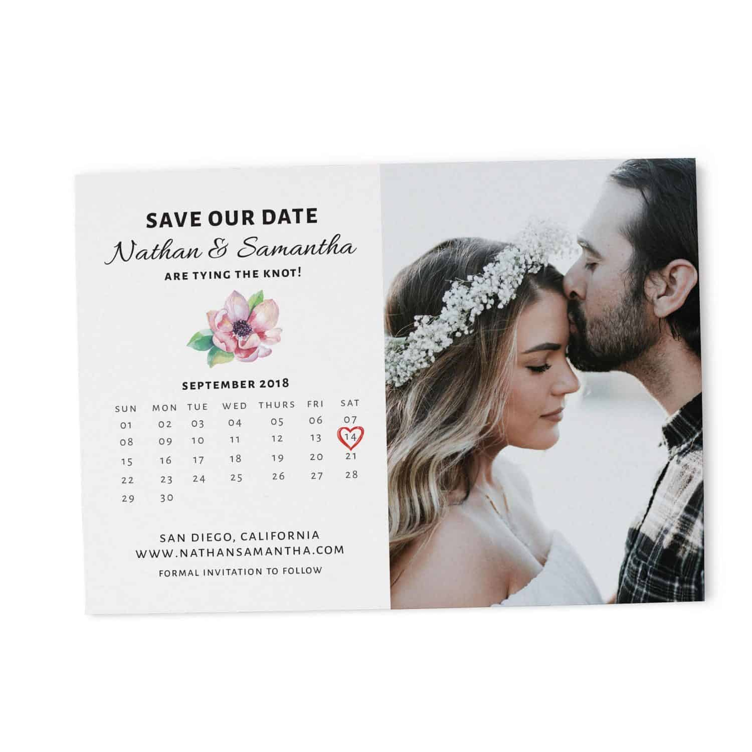 Save the Date Cards Add Your Own Photo, Simple Calendar Save the Date Cards