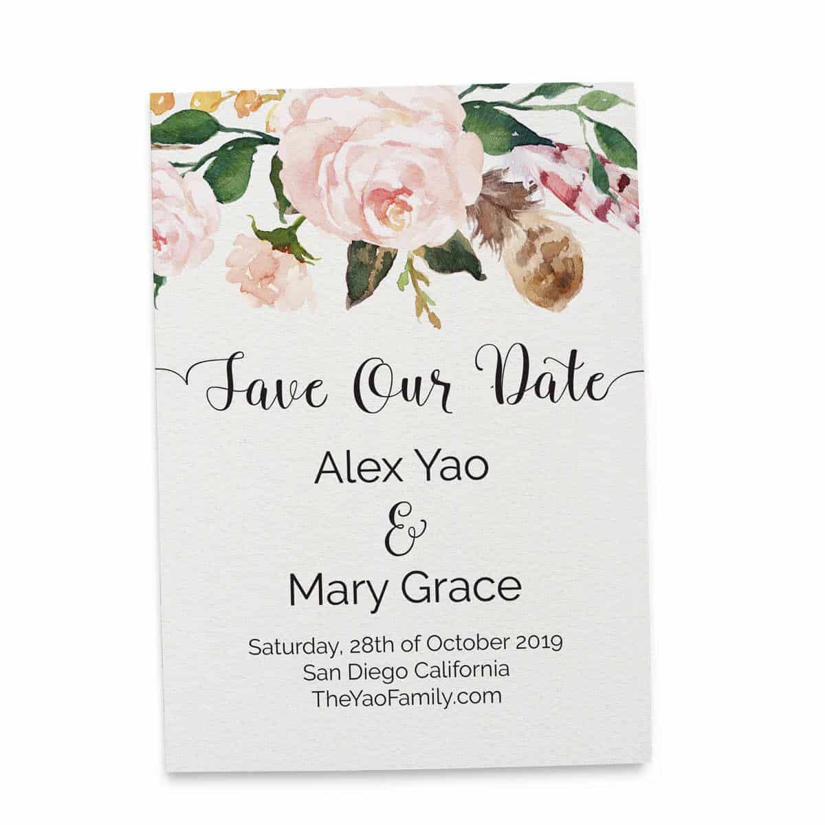 Save the Date Cards, Floral Boho Bohemian Save the Date Wedding Cards