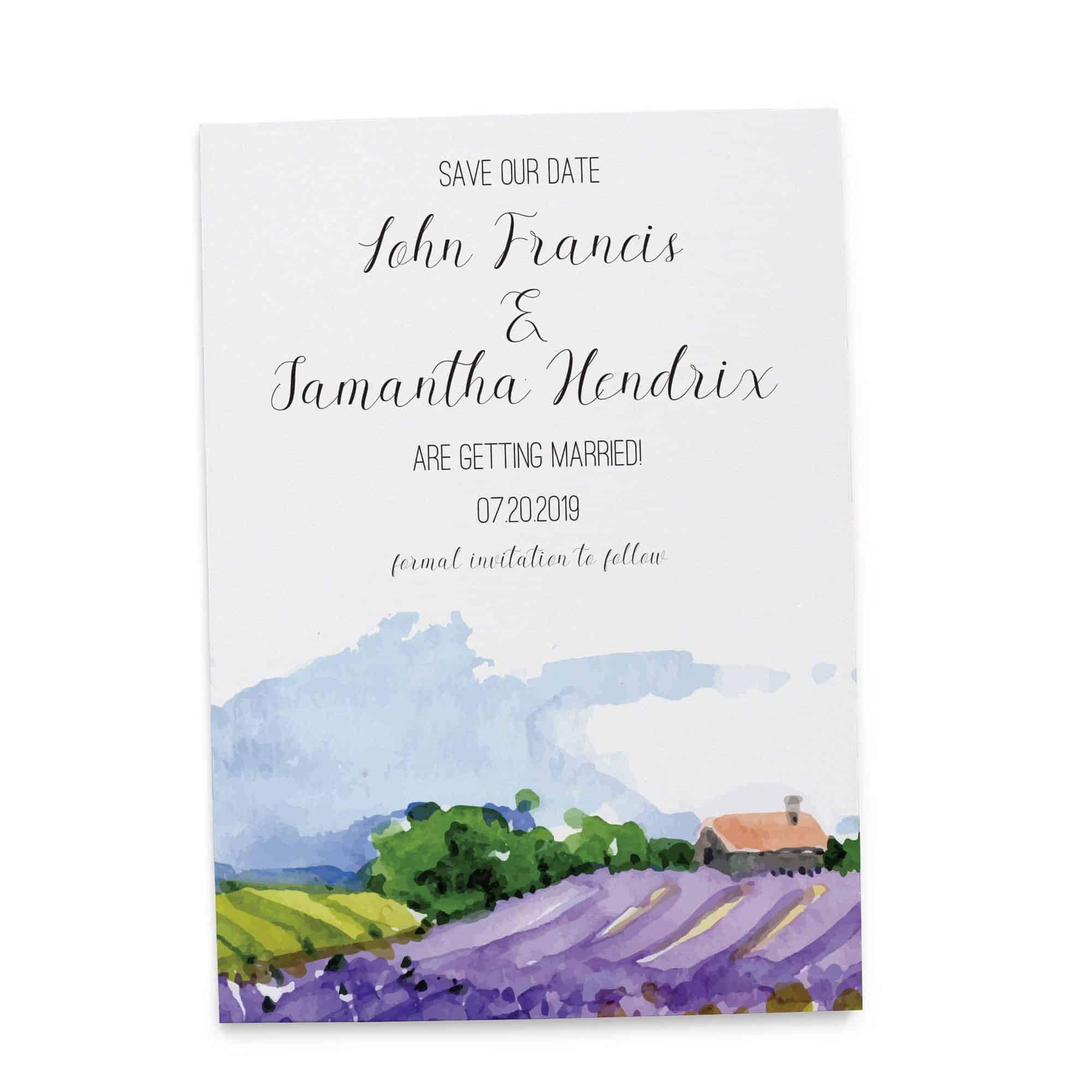 Save the Date Cards, Lavender Field Save the Date Wedding Cards