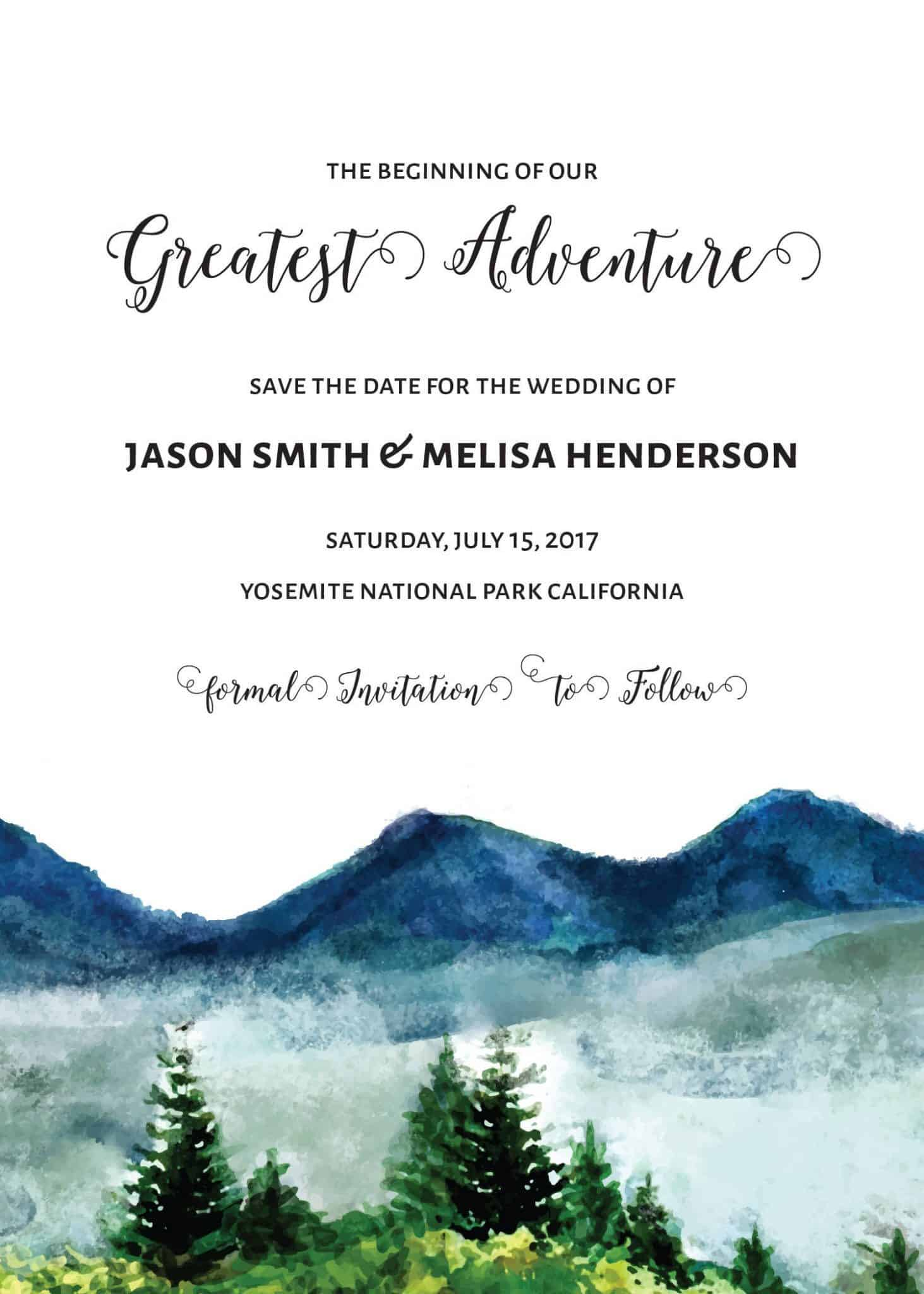 The Beginning of Our Greatest Adventure Save the Date Cards, Mountains Save the Date Cards