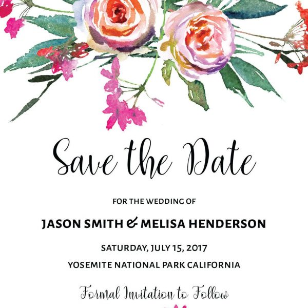 Vintage Floral Save the Date Cards, Mountains Save the Date Cards