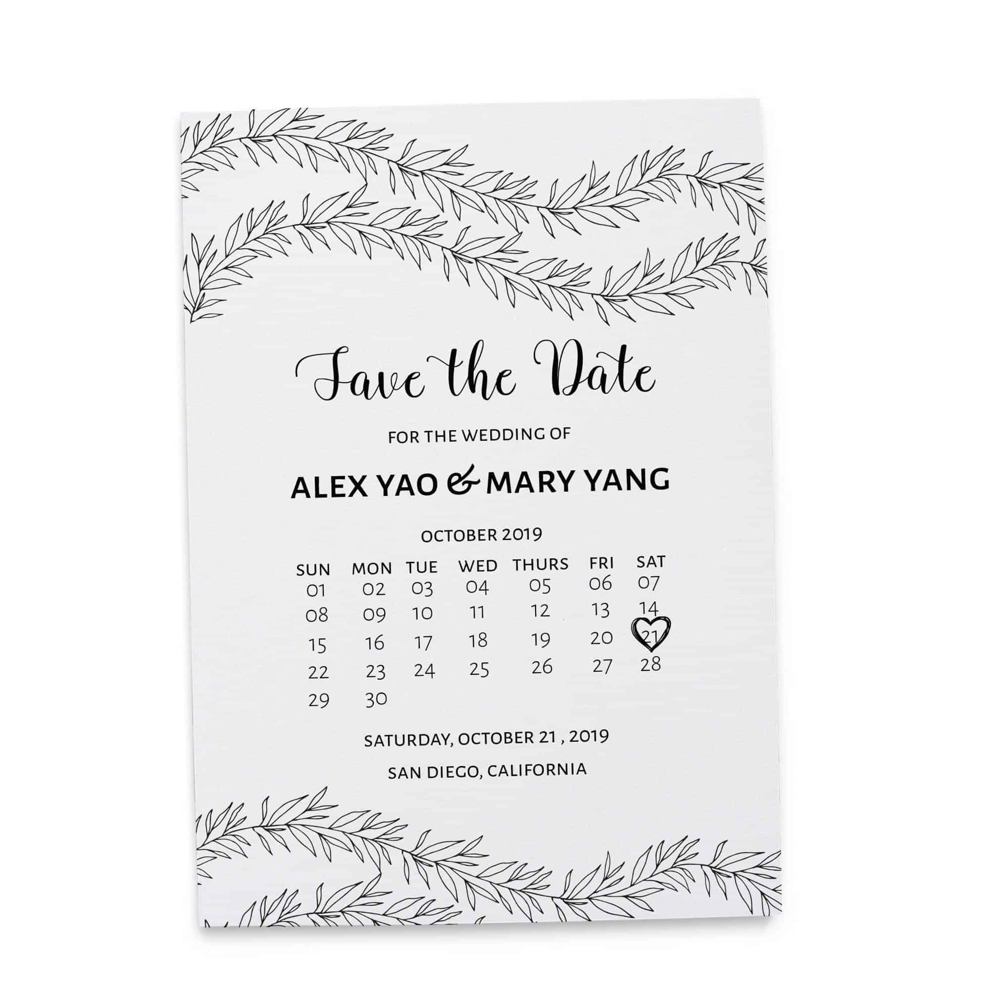 Simple Save the Date Cards, Unique Rustic Calendar Save the Date Cards