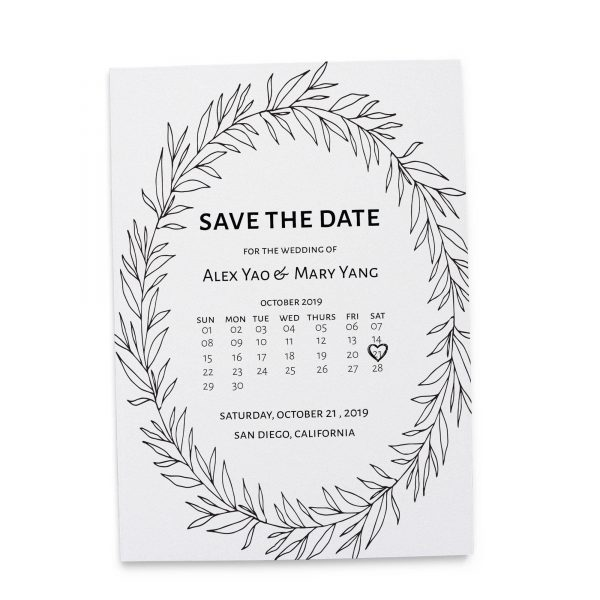 Rustic Wreath Save the Date Cards, Simple Calendar Save the Date Cards