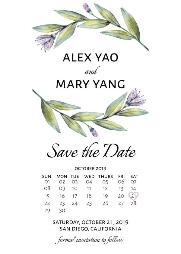 Save the Date Card, Simple Calendar Save the Date Cards