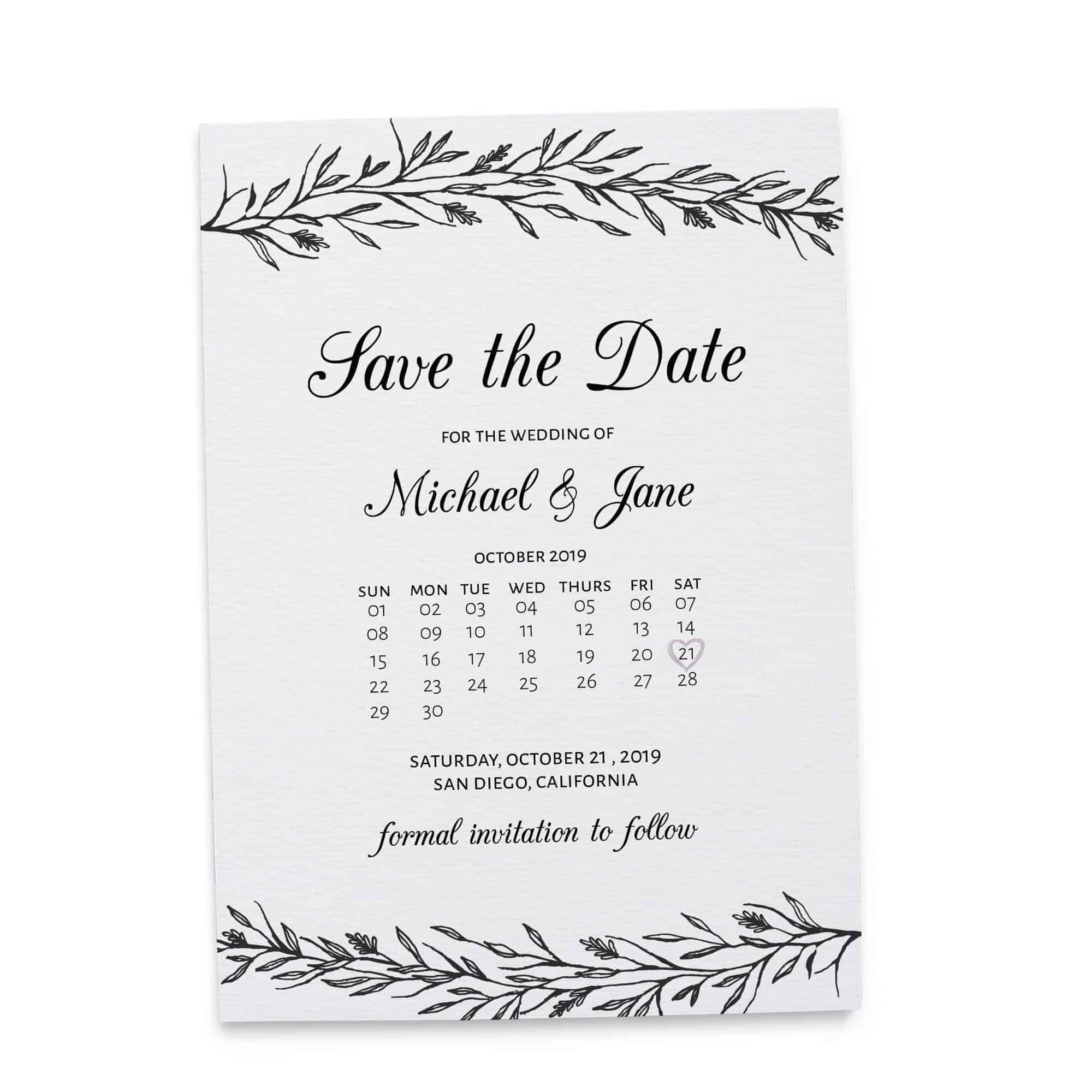 Rustic Save the Date Cards, Simple Calendar Save the Date Cards