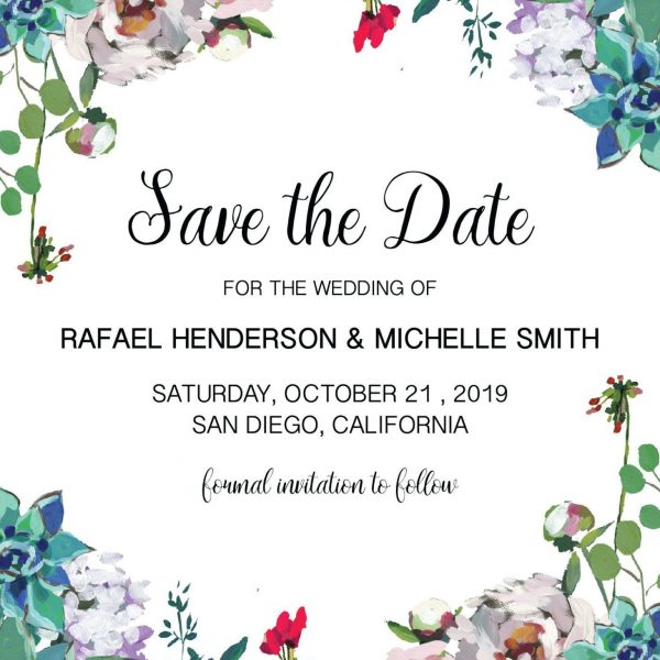 Succulent Save the Date Wedding Cards Printable, Save the Date Cards, Personalized Save the Date Cards