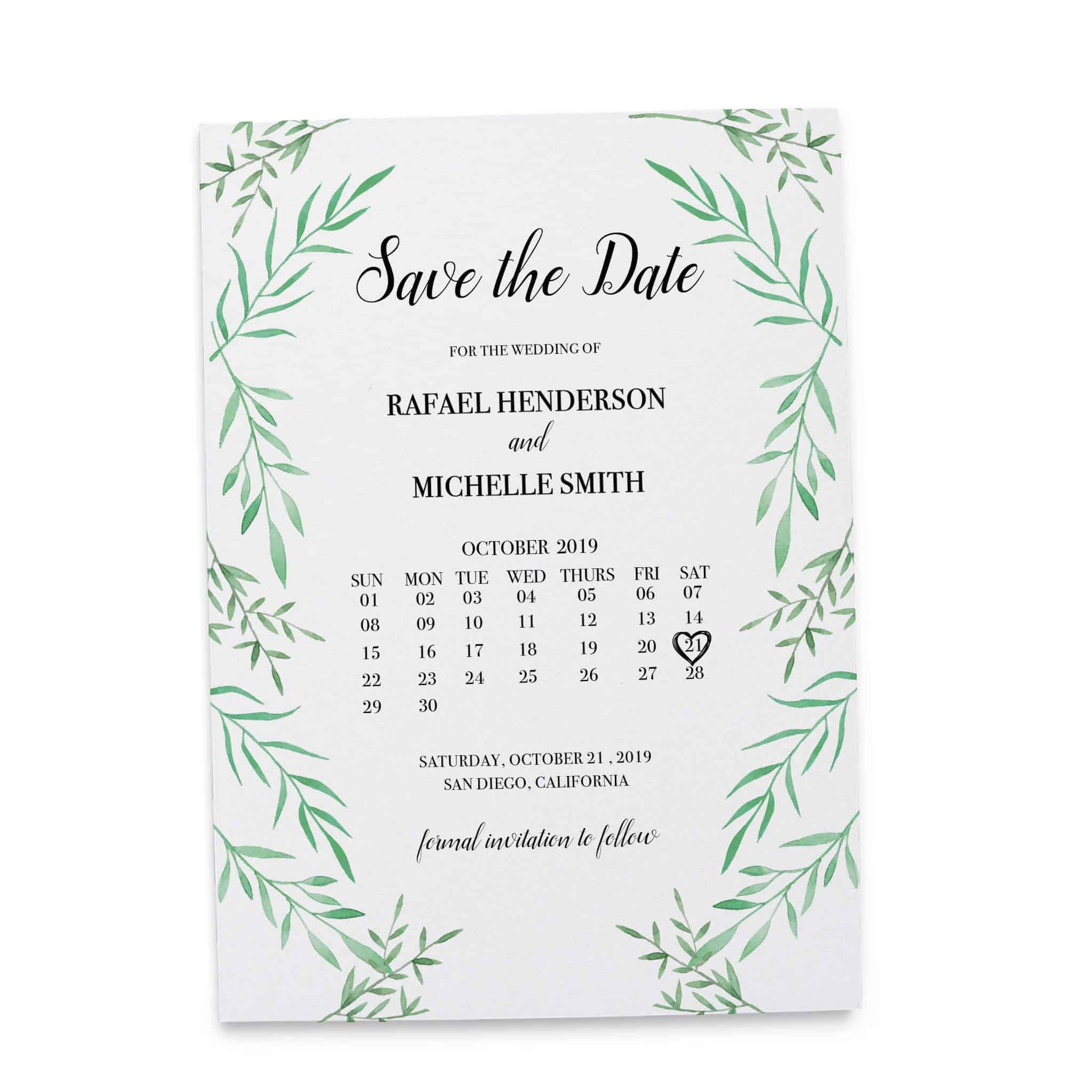 Save the Date Cards, Wedding Save the Date Cards, Green & Leafy Cards
