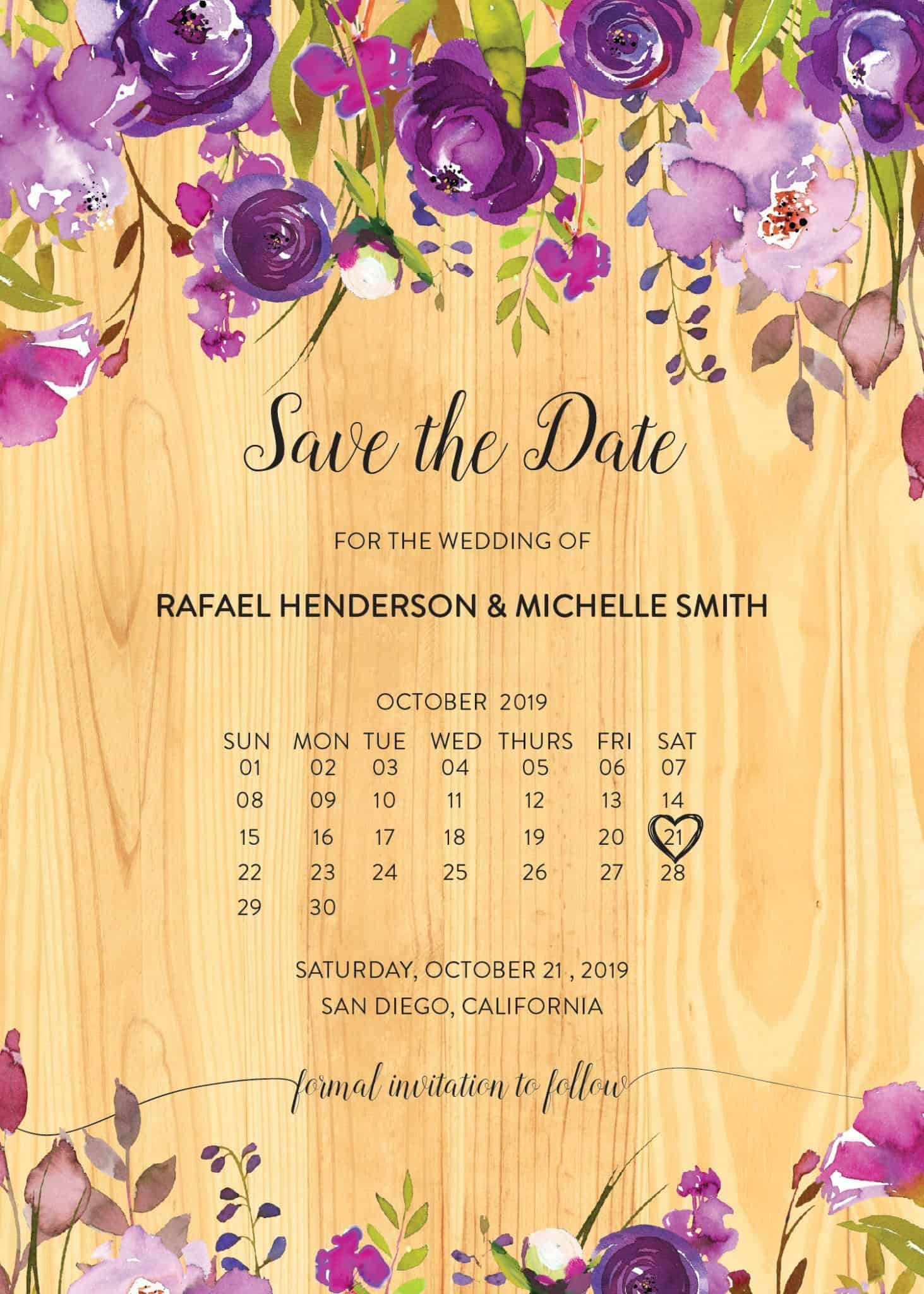 Wooden Rustic Save the Date Cards, Purple Floral Save the Date Cards
