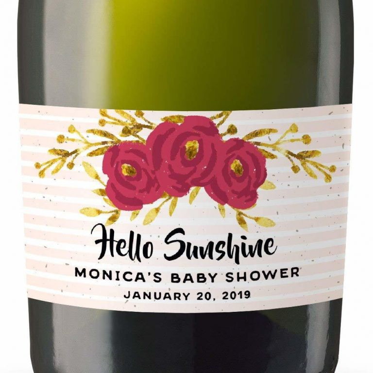 Hello Sunshine Personalized Mini Champagne Bottle Label Stickers for Baby Shower Party
