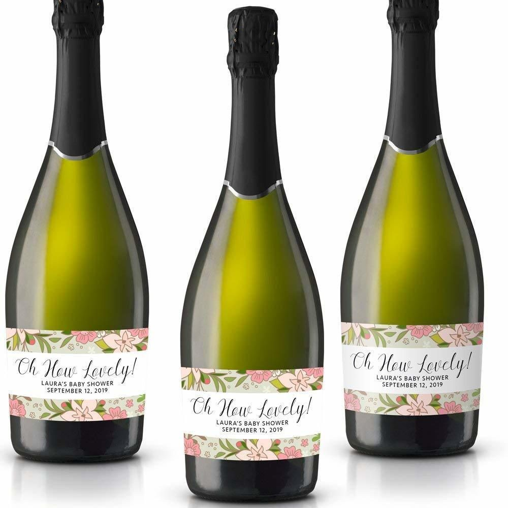 How Lovely! Personalized Mini Champagne Bottle Label Stickers for Bridal Shower, Bachelorette and Engagement Party