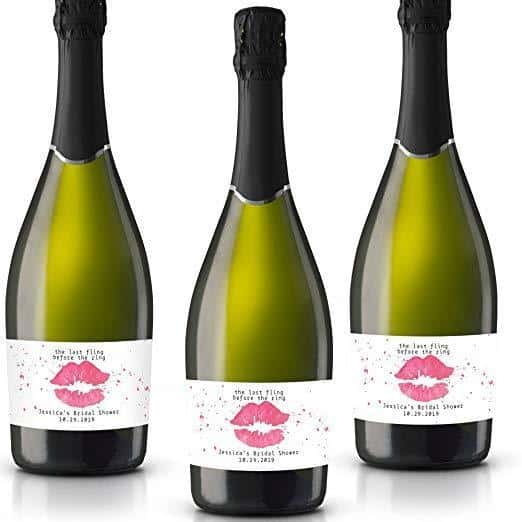 Last Fling Personalized Mini Champagne Bottle Label Stickers for Bridal Shower, Bachelorette and Engagement Party