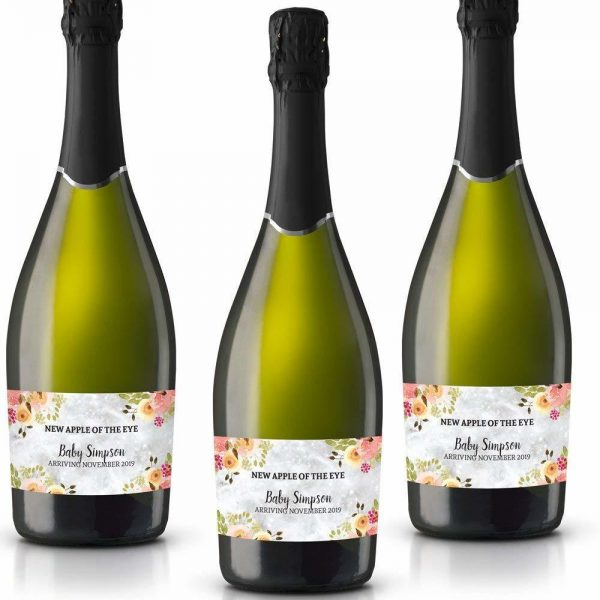 Apple of the Eye Personalized Mini Champagne Bottle Label Stickers for Baby Shower Party