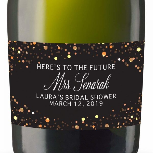 To Future Mrs Personalized Mini Champagne Bottle Label Stickers for Bridal Shower, Bachelorette and Engagement Party