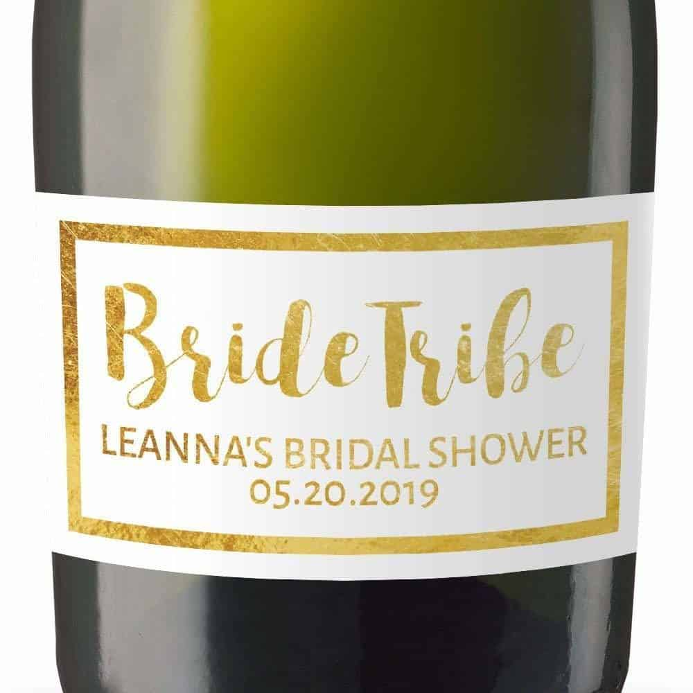 Bride Tribe Custom Personalized Mini Champagne Bottle Label Stickers for Bridal Shower, Bachelorette and Engagement Party