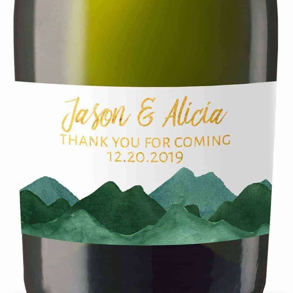 Thank You Mini Champagne Wine Bottle Custom Label Sticker for Wedding Gift, Engagement, Bridal Shower, Bachelorette Party, Elopement Invitation - Specialized Personalized Bespoke Set of 8