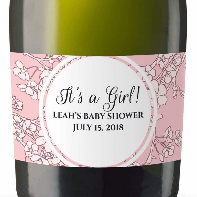 It's A Girl Personalized Mini Champagne Bottle Label Stickers for Baby Shower Party