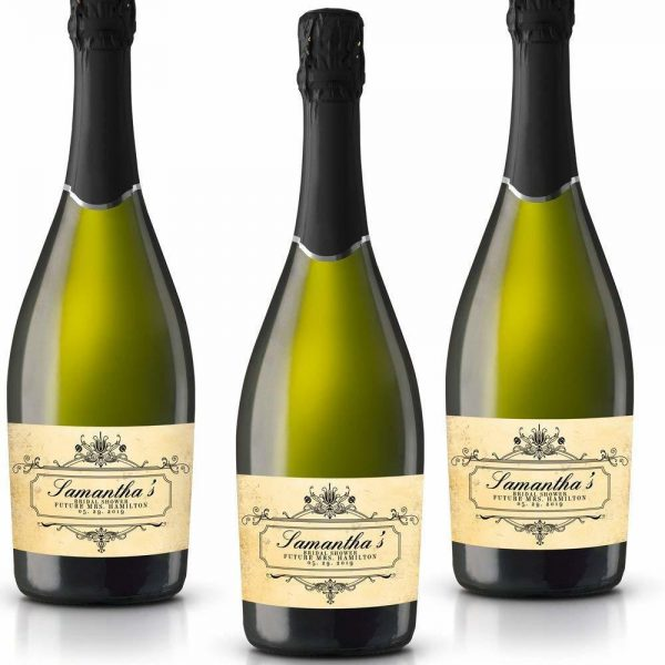 Bridal Shower Personalized Mini Champagne Bottle Label Stickers for Bridal Shower, Bachelorette and Engagement Party