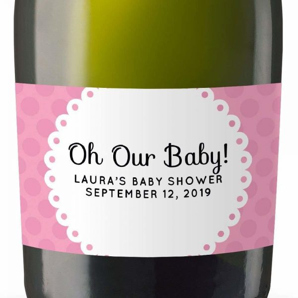 Our Baby! Personalized Mini Champagne Bottle Label Stickers for Baby Shower Party