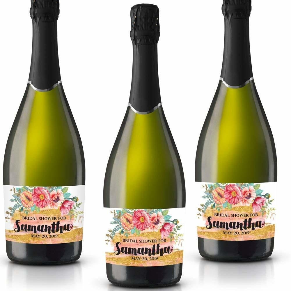 Bridal Shower For Personalized Mini Champagne Bottle Label Stickers for Bridal Shower, Bachelorette and Engagement Party