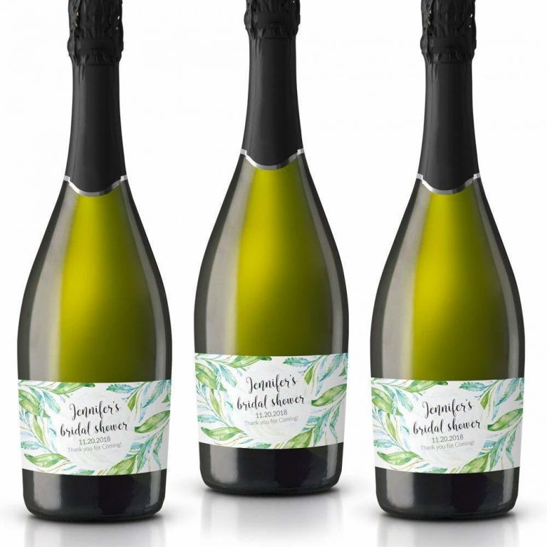 Thank You! Personalized Mini Champagne Bottle Label Stickers for Bridal Shower, Bachelorette and Engagement Party