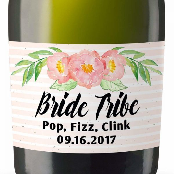 Bride Tribe II Personalized Mini Champagne Bottle Label Stickers for Bridal Shower, Bachelorette and Engagement Party