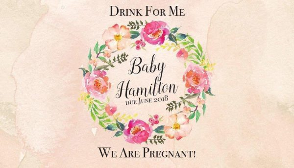 We Are Pregnant! Personalized Mini Champagne Bottle Label Stickers for Baby Shower Party