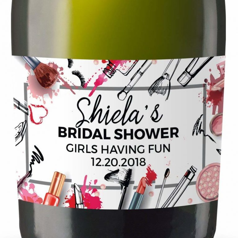 Girls Having Fun Personalized Mini Champagne Bottle Label Stickers for Bridal Shower, Bachelorette and Engagement Party