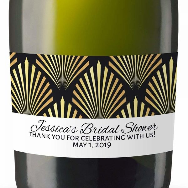 Thanks You! Personalized Mini Champagne Bottle Label Stickers for Bridal Shower, Bachelorette and Engagement Party