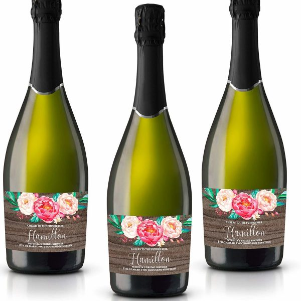 Wood and Floral Personalized Mini Champagne Bottle Label Stickers for Bridal Shower, Bachelorette and Engagement Party